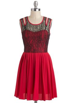 Strawberry Punch Dress - Short, Red, Black, Cutout, Lace, Pleats, Party, A-line, Sleeveless