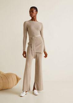 Ribbed flare trouser