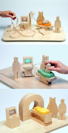 These fancy toys can show how large medical equipment works. Kids can play doctor and become comfortable with these processes Child Life Specialist, Medical Design, Designer Toys, Newborn Gifts, Wood Toys, Diy Toys, Toddler Toys, Handmade Toys, Educational Toys