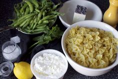 Bowties with Sugar Snaps, Ricotta and Lemon