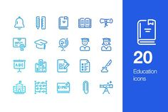 20 Education icons by Mir store on @creativemarket