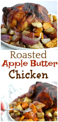 It's so easy to make this delicious Roasted Apple Butter Chicken at home. This crispy crust chicken on top of a bed of veggies is comfort food you can't resist. Duck Recipes, Fun Easy Recipes, Turkey Recipes, Meat Recipes, Real Food Recipes, Crockpot Recipes, Cooking Recipes, Apple Recipes, Popular Recipes