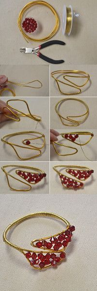 How to Make a Wire Wrapped Red Glass Bead Bracelet-An Easy DIY Project for Beginners from LC.Pandahall.com