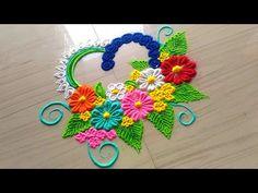 BEAUTIFUL heart shape rangoli designs with flowers/easy simple & small rangoli/Valentine's min rangoli by jyoti Rathod ❤❤❤❤❤❤❤❤❤❤❤❤❤❤❤ 💠Click the f. Gudi Padwa Rangoli, Small Rangoli, Indian Rangoli, Flower Rangoli, Easy Rangoli, Colorful Rangoli Designs, Rangoli Designs Diwali, Rangoli Designs Images, Beautiful Rangoli Designs