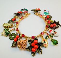 Holly Jolly Christmas Repurposed Vintage Jewelry by Modulation, $65.00
