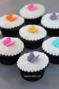 Butterfly cupcakes, kelebek cupcakeler, birthday cupcakes