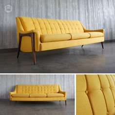refinished & reupholstered mid-century, modern couch hutch has curated in Omaha, NE. www.facebook.com/hutchmodern
