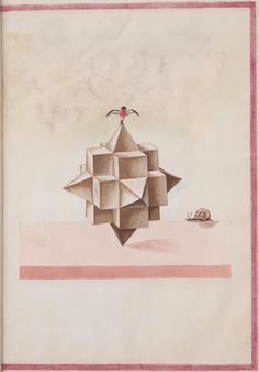 Geometric Perspective  The images below (background spot-cleaned) come from a rather obscure 16th century anonymous paper manuscript containing sketches of geometric solids. The illustrations have been cropped from the slightly larger full-page layouts.