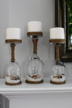 Seashell and Sand Wine Glass Candle Holders Set of Beach Souvenir,Upside down wine glass c. Seashell and Sand Wine Glass Candle Holders Set of Beach Souvenir,Upside down wine glass candle holders, Candle Holders, Christmas Mason Jars, Christmas Crafts, Christmas Decorations, Christmas Tree, Christmas Candles, Christmas Ideas, Wine Glass Candle Holder, Glass Candle Holders, Bottle Candles