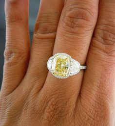 Dream Ring...Micropave diamond Ring | Halo Diamond Ring | Yellow Diamond Ring