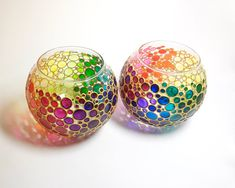 Set de 2 Portavelas arco iris burbujas mano florero por ArtMasha