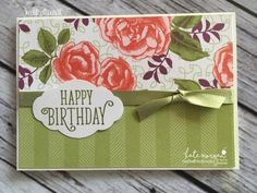 Birthday Card using Stampin Ups Petal Garden DSP, Pretty Label and Happy Birthday Gorgeous by Kate Morgan, Independent Demonstrator Australia