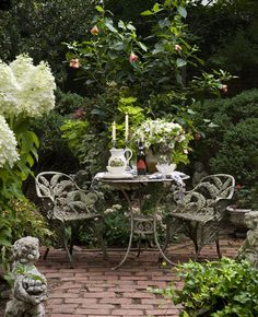 Cute Bistro set in a cozy little setting.