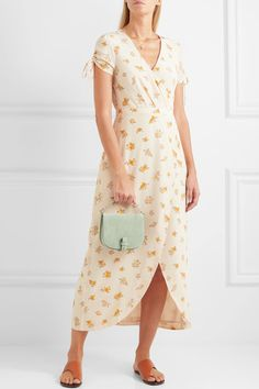 Madewell - Magdalena Wrap-effect Floral-print Silk Crepe De Chine Dress - White