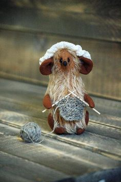 Handmade Mohair Mouse-Mouse Figurine-Mouse Ornaments-Country