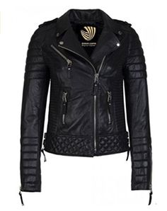 Women's Leather Jacket Handmade Black Motorcycle Solid Lamb Leather Coat-W-089 #Handmade #BasicCoat