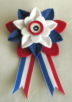 Patriotic Red White and Blue Felt Flower Pin with Red/White/Blue Button and Ribbon - Boutonniere