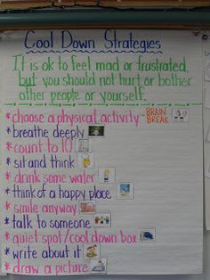 Cool Down Strategies anchor chart