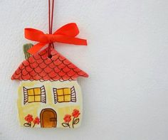 Ceramic little house with garden 1 by IoannasVeryCHic on Etsy, $15.00