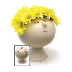 "Whimsical Ceramic ""Flowerhead"" Vase"