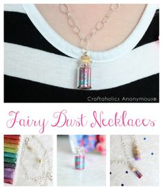 How to make these fun fairy dust necklaces! Perfect party favor!