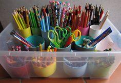 Dica de organização para as crianças – Material escolar – Cano PVC
