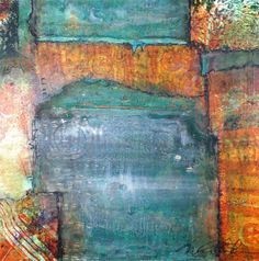"""Entry by: Nina Mihm Gelli plate papers form the H shape in this mixed media piece titled """"Opening Again"""". Really, really love making and using these papers. Could always use another plate!"""