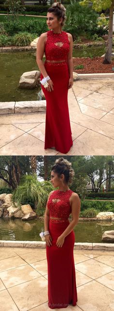 Two Piece Prom Dresses Red, Long Party Dresses Sexy Formal Dresses Sheath/Column Scoop Neck, Chiffon Evening Gowns Appliques Lace Cute Formal Dresses, Best Prom Dresses, Prom Dresses For Teens, Long Prom Gowns, Plus Size Prom Dresses, Cheap Prom Dresses, Prom Party Dresses, Ball Dresses, Party Gowns