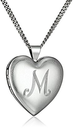 """Rhodium-Plated Initial """"M"""" Heart Locket Necklace, Sterling silver necklace featuring heart-shaped locket with engraved monogram initial Made in the USA Heart Locket Necklace, Silver Chain Necklace, Sterling Silver Necklaces, Silver Earrings, Necklaces With Meaning, Cheap Silver Rings, Jewelry Editorial, Necklace For Girlfriend, Fashion Jewelry"""