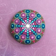 Jewel Drop Mandala Painted Stone Regal Jewels by ElspethMcLean