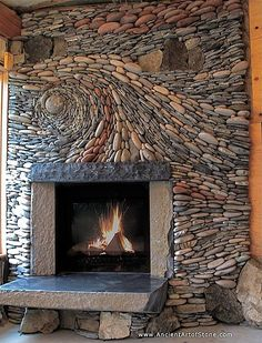 Rustic Living Room with Quarry Stone Fireplace Hearth, Artisan Riverstone fireplace surround- Reminds me of Van Gogh's STARRY NIGHT. LOVE IT! And I could do this!!