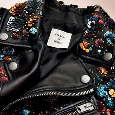 This sequined leather jacket is just one of the amazing pieces created for the Rodarte and Coach capsule collection.