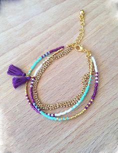Découvrez Bracelet turquoise mauve multi rangs perles miyuki et chaine dorée grappe HQ  sur alittleMarket
