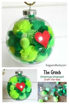 DIY Grinch Inspired Christmas Ornament Craft for Kids: Homemade ornament inspired by The Grinch by Dr. Easy for children to make with pompoms! christmas ornaments for kids The Grinch Christmas Ornament Craft for Kids - Buggy and Buddy Grinch Ornaments, Christmas Ornament Crafts, Xmas Crafts, Christmas Crafts For Kids To Make Toddlers, Easy To Make Christmas Ornaments, Christmas Decorations Diy For Kids, Kids Christmas Treats, Homemade Christmas Crafts, Diy Crafts