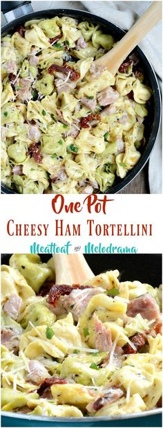 One Pot Cheesy Ham Tortellini Skillet - Leftover ham and cheese tortellini with sun dried tomatoes in a creamy sauce is made in on pan and takes 20 minutes to make! This quick and easy dinner is perfect for busy weeknights! from Meatloaf and Melodrama