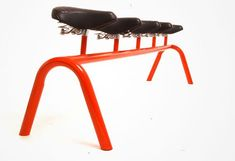 The Bicycle bench was designed as a way to help recycle parts of the hundreds of old rusty damaged bicycles, left to die, chained to the lamp posts of New York City. By reutilizing and welding discarded tubes and saddles the old bike parts can be re-incorporated into the public realm as a simple useful urban furniture piece.