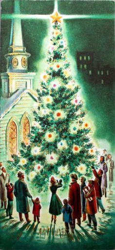 Beautiful vintage christmas church and tree