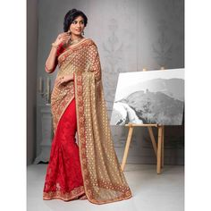 Red and Beige Net Designer #Saree With Blouse- $98.85