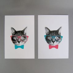 Gee Whiskers | Prints by Fancy Seeing You Here {}  Gee Whiskers Prints by Fancy Seeing You Here    What's cooler than a kitty wearing hipster glasses? A pair of studious felines sporting geek chic bowties to match.