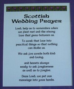 Scottish Wedding Prayer