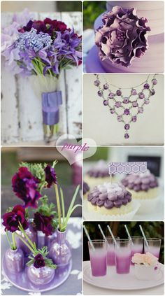 purple ombre wedding ideas for cakes and decorations