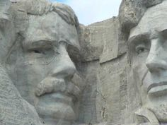 Theodore Roosevelt and Abraham Lincoln.  Mount Rushmore National Park, SD.