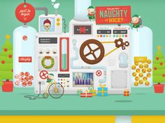 The machine in our Holler Christmas Card that works out whether you're naughty or nice.  You can check out the site here. Be sure to look at the @2x size to see all of the details on the machine.