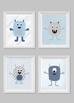 Monster Nursery Art Boy's Room Decor Grey by SweetPeaNurseryArt                                                                                                                                                                                 Mais