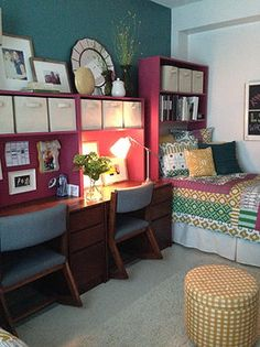 Dorm room at Auburn Quad desk shelf anthropologie inspired {terri-yates-designs-}
