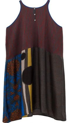 """</p> <p class=""""p1"""">Loose-fitting light sleeveless dress in knitted cotton. Jacquard body with brush strips in two collors.</p> <p class=""""p1"""">Multicolour digital printed silk skirt.</p> <p class=""""p1"""">Round collar and back closure with two mother of pearl buttons</p> <p class=""""p1"""">Top 100% Cotton 