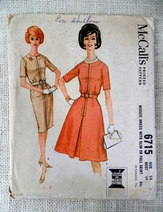 McCall's 6715 Vintage sewing pattern Dress 1960s wiggle