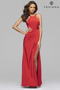 Red stretch faille satin evening dress with high neck and high leg slit   Faviana Style 7904