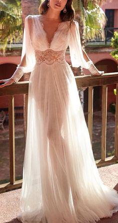 Fashion V-neck Lace Mesh Long Skirt Dress Evening Dresses For Weddings, Dream Wedding Dresses, Bridal Dresses, Wedding Gowns, Bridesmaid Dresses, Formal Dresses, Dresses For Wedding Guests, Ladies Dresses, Pretty Prom Dresses