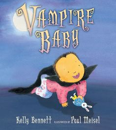 """Vampire Baby - It happens overnight: """"little sister Tootie goes from cuddly, ga-ga-goo-goo, I-want-my-ba-ba baby to...vampire baby."""" Now she's sinking her pointy fangs into everything -- furniture, toys, and especially her big brother. Mom insists that it's just a phase, but Tootie's brother knows better.  A fresh slant to the new-baby story, proving that even monstrous little arrivals have a funny way of staking their siblings' affections. HC 9780763646912 / Ages 4-7"""